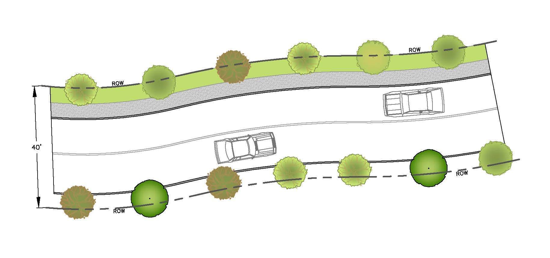 Small Trees on Both Sides of Road - Typical Plan